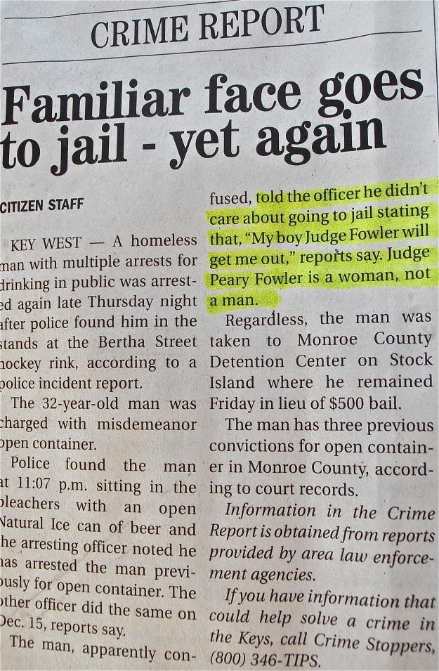 Key West Homeless Arrest