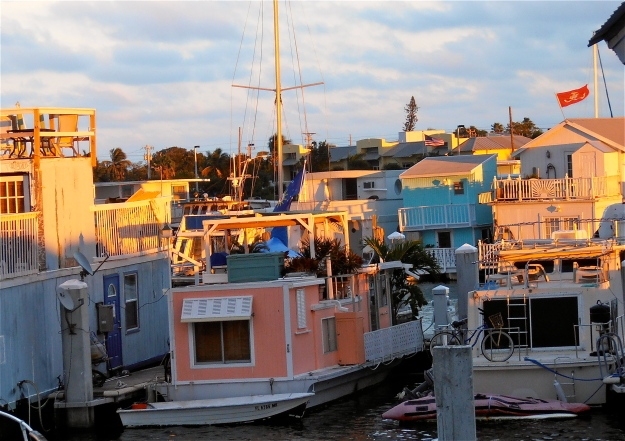 More houseboats in the warm light of the setting sun