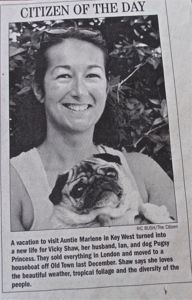 My friend Vicky and the puglet as celebs of day in Key West's local paper The Citizen