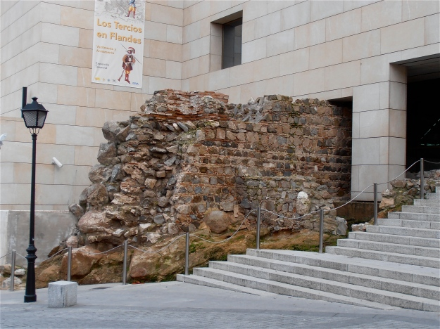 Front entrance of the Museo De Ejercito (Army Museum) with its chunk of old wall sticking out