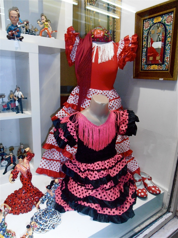 Ditto those diabolical dresses. Nothing against flamenco dresses per se, they could be really stylish, but these garish plastic contraptions are about as well-made and appealing as refuse sacks