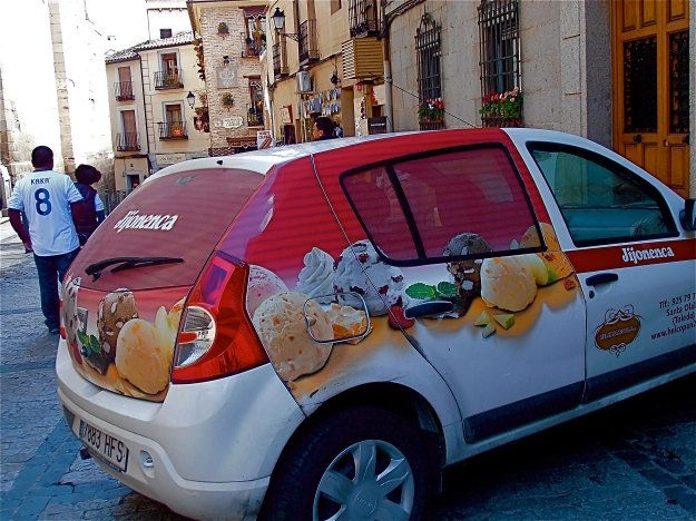 This (evidently local) car was parked just opposite Toledo cathedral. Not that they sell ice cream in there, although it might boost attendance if they did... For a developed country economy, the Spanish are quite abstemious where sweet stuff is concerned. In 2012, they managed 5.8kg of ice cream, which is borderline respectable, but a measly 2.1kg of chocolate