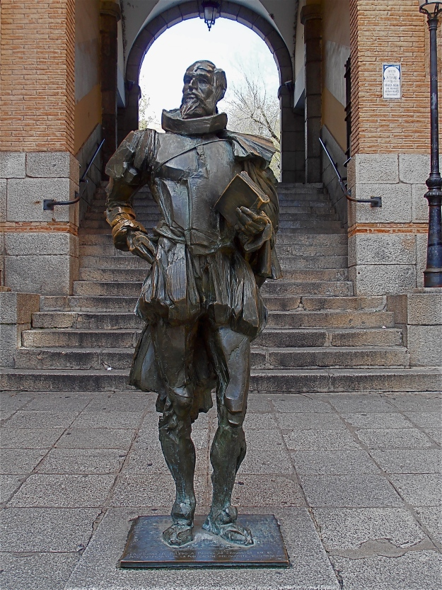 """A statue of Miguel De Cervantes, author of """"El Ingenioso Hidalgo Don Quijote de la Mancha"""". Cervantes lived in Toledo, and he died on the very same day as William Shakespeare, 22 April 1616."""