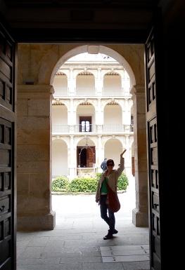 Maria in university doorway