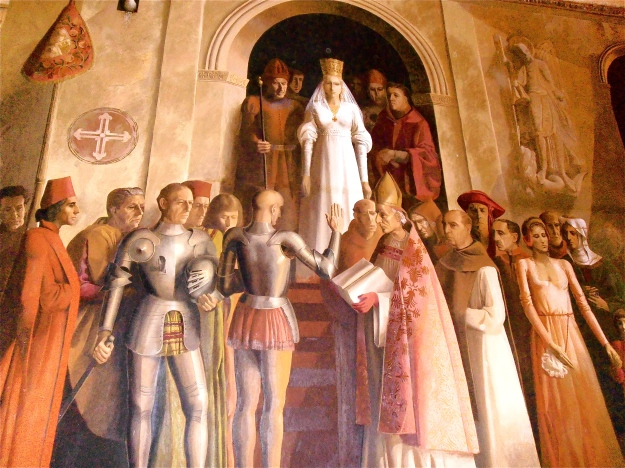 A large mural inside the castle
