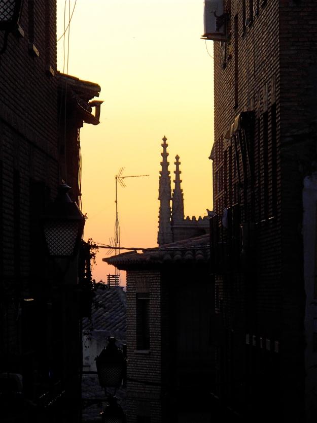 Toledo street at sunset