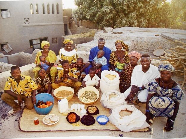 A family in Mali. Gosh, 15 people and barely any food! OK, there's a few big sacks of grain (millet, corn, rice), but barely any vegetables, and, even more disconcertingly, no protein foods except for a canister of milk and a small bag of dried fish.