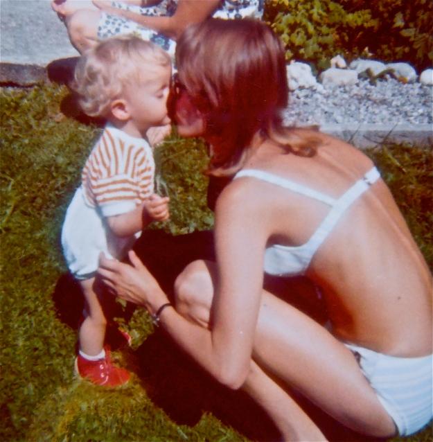 With my mum in my grandparents' garden