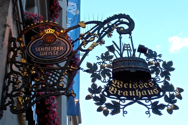 Munich brewery sign, pic taken in Munich town centre