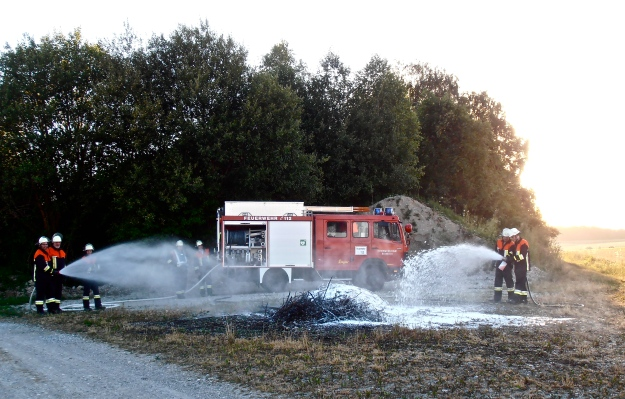 Aw, look at them with their foam extinguishers and their hoses...