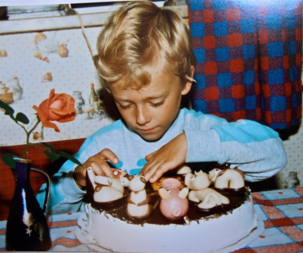 That's not me, but my little brother with his birthday cake
