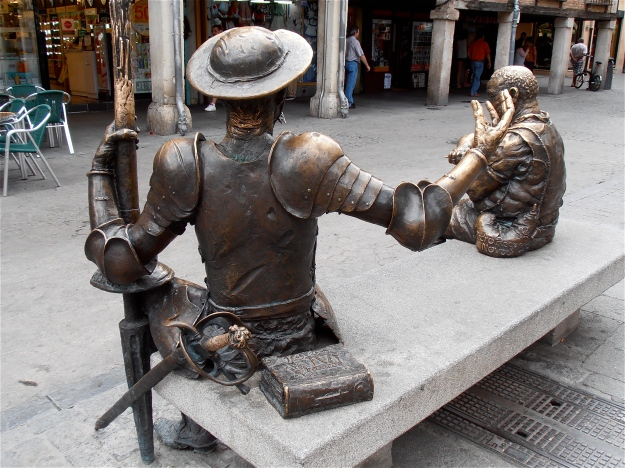 Statues of Don Quixote and Sancho Panza outside Cervantes's birth house in the Spanish town of Alcalá de Henares.