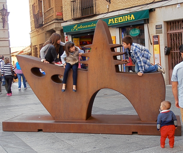 Newfangled sculpture in Toledo. Been seized by kids, which, I think is an immense improvement...