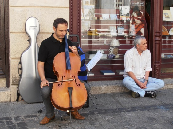 This one's a regular, he plays his cello outside Toledo Cathedral every weekend.