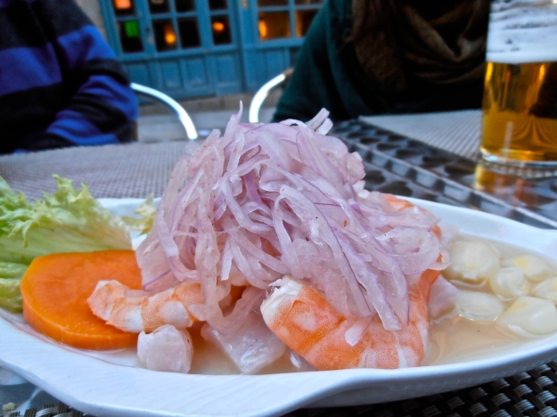 We had to order Peru's signature dish, of course: ceviche. You'll find variations of this marinated fish and seafood dish all over Latin America.