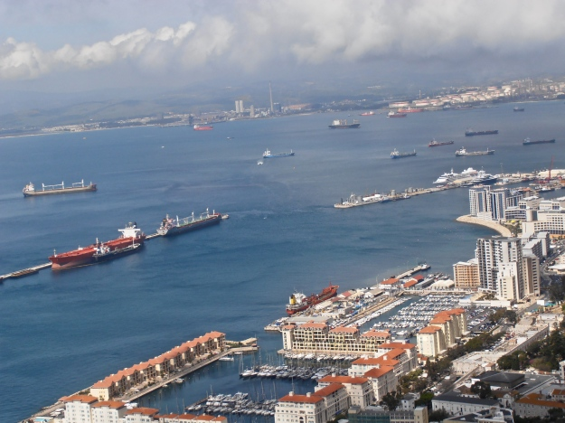 View of Gibraltar harbour, Algeciras in the background