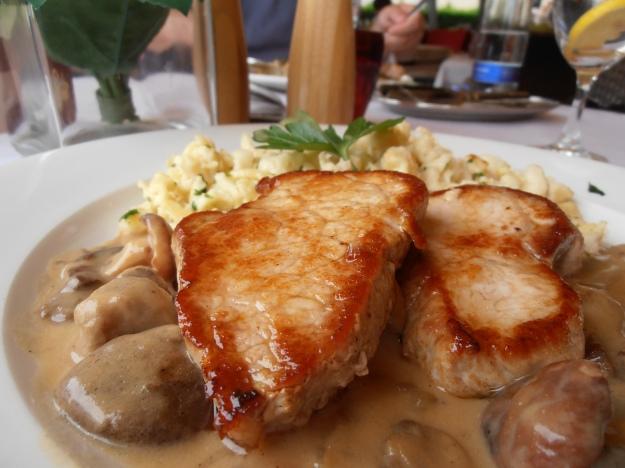 Pork in a creamy mushroom sauce with Spätzle.