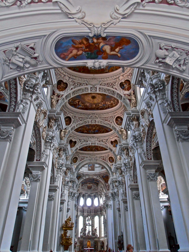 A glimpse of Passau Cathedral's splendid ceiling