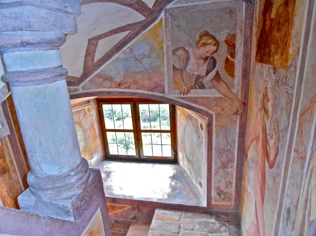 """We took a guided tour, and, although, the rooms were relatively bare (except for the chapel), there were some pretty pieces to view. We weren't allowed to take photos, but I manage this sneaky shot of the """"Narrentreppe"""" (staircase of fools)."""