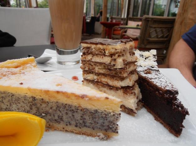 Bro had: poppy seed, some sponge-chocolate cream layered thing, and chocolate cake