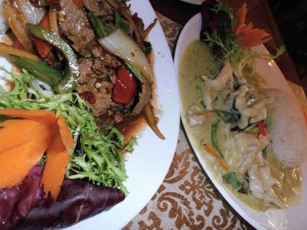 Thai green curry and basil & chili beef