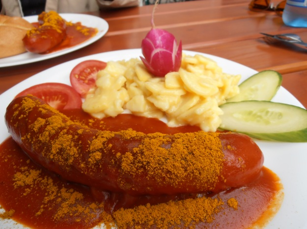 Currywurst is a legendary German invention... this one was devoured on a hike through Munich by the river Isar