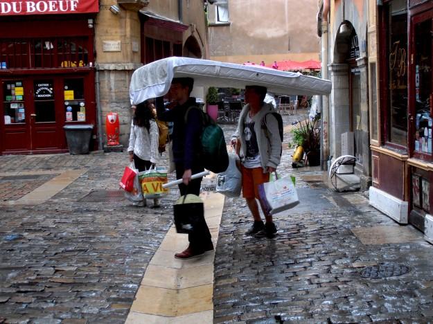 Kill two birds with one stone: Use mattress as rain shield